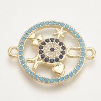 Коннектор Круг-символы 23*18 с голубыми фианитами, цвет золото