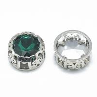 Кристалл в оправе Вензель Платина, форма Круг, 12мм, Emerald