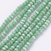 Хрустальные бусины Рондель 4*3мм; Зелёный радужный №54; 130 бусин нить
