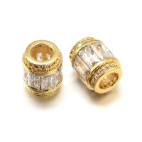 Бусина Бочонок с прозрачными кристаллами, цвет золото