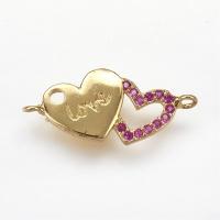 Коннектор Love малиновые фианты, цвет золото