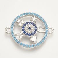 Коннектор Круг-символы 23*18 с голубыми фианитами, цвет платина