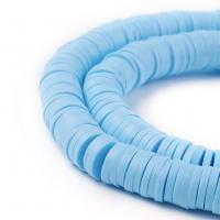 Каучук бусины 6*1мм; цвет Голубой, нить 40см