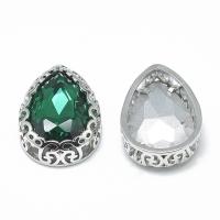 Кристалл в оправе Вензель Платина, форма Капля 16*12мм , цвет Emerald