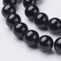 Агат гладкий  Чёрный, шар 3мм, нить 38см