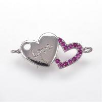 Коннектор Love малиновые фианты, цвет платина