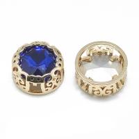 Кристалл в оправе Вензель Золото, форма Круг, 12мм, Sapphire