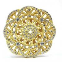 Бусина 24мм круг Цветок, цвет золото