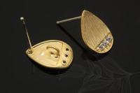 Пуссеты 3 фианита, размер 8*12мм, цвет золото