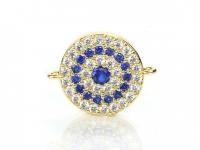 Коннектор Круг с синими Фианитами, цвет золото