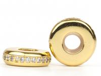 Бусина-Замочек узкий с инкрустацией, 8мм, цвет золото