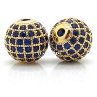 Шар с синими Фианитами, 10мм, цвет золото