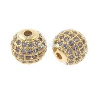Бусина Шар, цвет платина (голубые фианиты)