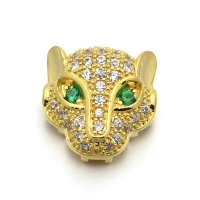 Бусина Гепард с зелёными глазами, цвет золото