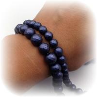 Жемчуг Майорка Матовый гранёный Синий Фиолет, цвет №9, полная нить