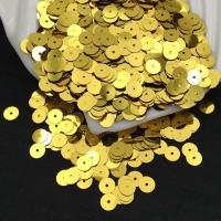 Пайетки Италия; Плоские, 6мм; цвет Золото (2201)