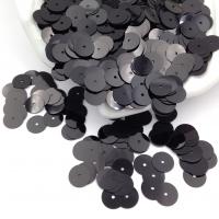 Пайетки Италия; Плоские, 8мм; цвет Чёрный металл (9919)