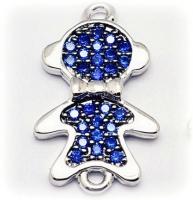 Коннектор Мальчик с бантиком, Синие фианиты, цвет платина