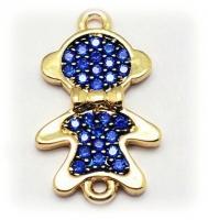 Коннектор Мальчик с бантиком, Синие фианиты, цвет золото
