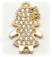 Коннектор Девочка с бантиком, Прозрачные Фианиты, цвет золото