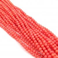 Коралл ярко Розовый, шар 4мм, полная нить 38см