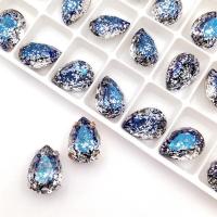 Кристалл Капля 14*10мм Metallic Blue Patina