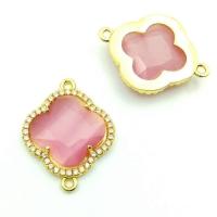 Коннектор Клевер Розовый кошачий глаз, цвет золото
