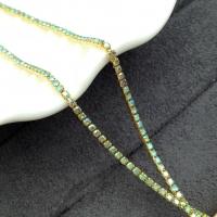 1,5мм Стразовая Цепь Южная Корея, цвет AB Peridot AB; золото