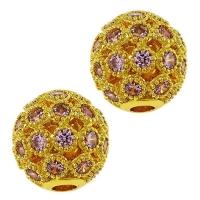Шар ажурное плетение с Розовыми Фианитами, 10мм, цвет золото