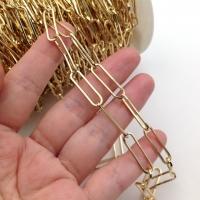 Цепь из латуни, тонкая Скрепка 22.5*6мм; цвет золото - 50 см