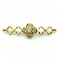 Коннектор 5 клеверов, прозрачные Фианиты, цвет золото