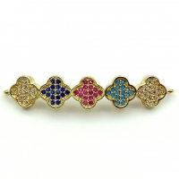 Коннектор 5 клеверов, Цветные Фианиты, цвет золото