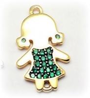 Коннектор Девочка в зелёном платье, 19мм; цвет золото