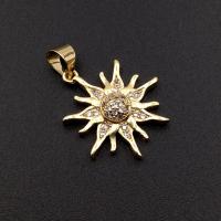 Подвеска Солнце 20мм с фианитами; цвет золото