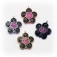 Коннектор Цветок Малиновый с фианитами, Цвет розовое золото