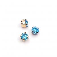 10 штук!  Фианит 6мм Blue Zircon, обрамлён в оправу Lux