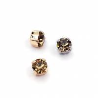 10 штук!  Фианит 6мм Black Diamond, обрамлён в оправу Lux
