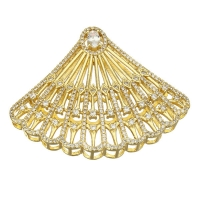 Крупная Бусина-Коннектор Большой веер, цвет золото