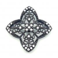 Бусина-Коннектор Четырёхлистник, цвет чёрный