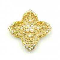 Бусина-Коннектор Четырёхлистник, цвет золото