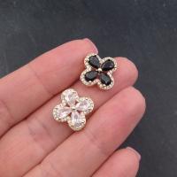 Винтовой замок Сердце с фианитами, 19мм, цвет золото