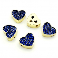 Бусина Сердце 9*10мм, с Синими Фианитами, цвет золото