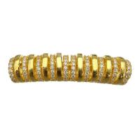 Бусина-трубочка с фианитами, цвет золото