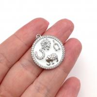 Талисман эмаль Символы с фианитами, 21мм; цвет платина