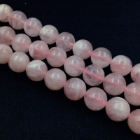 Мадагаскарский розовый Кварц 12мм, качество A Grade; 15 бусин