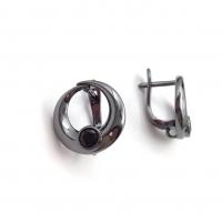 Швензы Кольцо 15мм + 1 фианит, чёрные