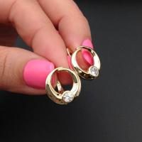 Швензы Кольцо 15мм + 1 фианит, цвет золото