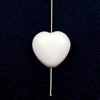 "Сердце гладкий ""Агат"" белый, 25мм, 1 бусина"