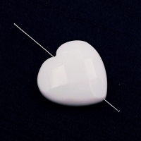 "Сердце гранёный ""Агат"" белый, 16 мм, 1 бусина"