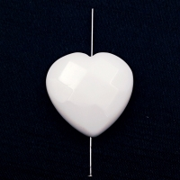 "Сердце гранёный ""Агат"" белый, 30 мм, 1 бусина"